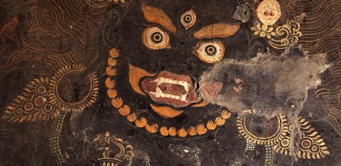 A mural of Gur Gönpo in the Galingteng Gönkhang before restoration